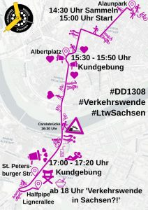 Demoverlauf der #Verkehrswende-Demo