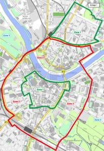 Karte der neuen Parkzonen in der Dresdner Neu- und Altstadt